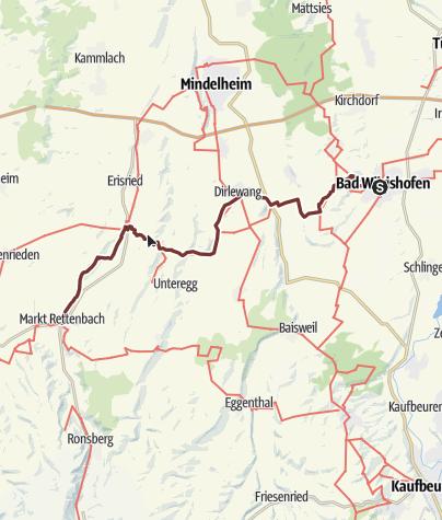 Map / Jakobsweg - Ost Etappe 2: Bad Wörishofen - Markt Rettenbach