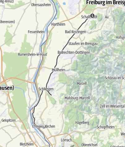 Karte / Badische Weinstraße | Alternativroute Markgräflerland