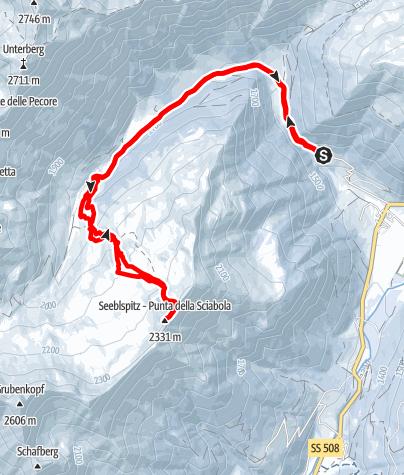 Karte / Seeblspitze, 2331m - Leichte Hochwintertour im hinteren Sarntal