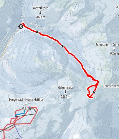 Karte / Kassianspitze, 2581 m - lange Hochwintertour zwischen Sarntal und Eissacktal