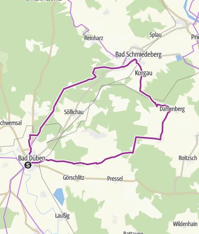 Karte / Auf herrlichen Wald-Heide-Wegen zum Kneipport Bad Schmiedeberg