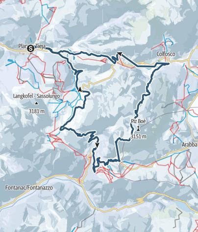 Map / Vom Sass Pordoi nach St. Christina/Wolkenstein