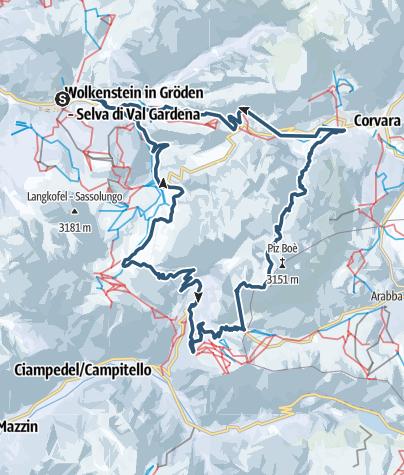 Karte / Vom Sass Pordoi nach St. Christina/Wolkenstein