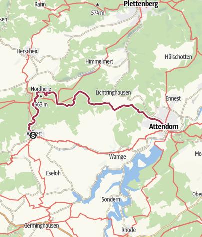 Sauerland Karte.Sauerland Hohenflug Von Valbert Nach Attendorn Wanderung