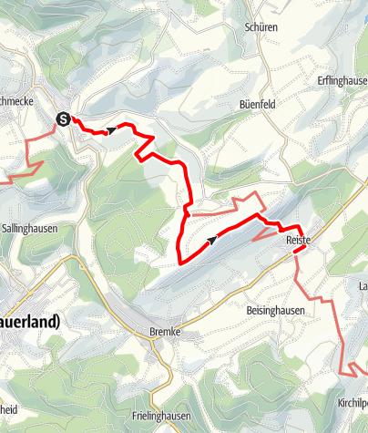 Karte / Sauerland-Höhenflug: Von Wenholthausen nach Reiste. Wanderung mit Bus & Bahn (DB-Westfalenbus)