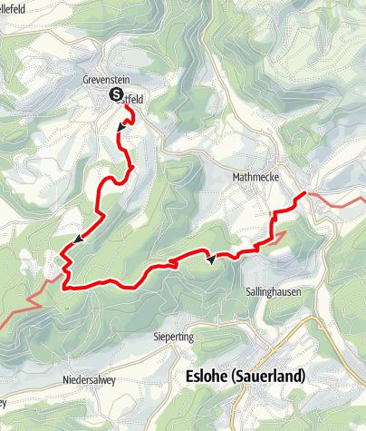 Karte / Sauerland-Höhenflug: Von Grevenstein nach Wenholthausen. Wanderung mit Bus & Bahn (DB-Westfalenbus)