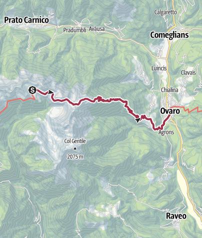 Karte / A 075 - Vom Rifugio Casera Losa nach Ovaro