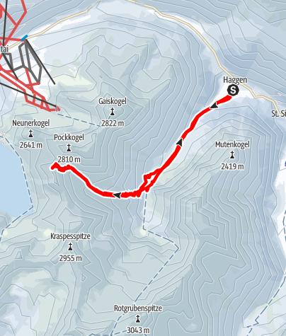 Karte / Steintalspitzen von Haggen im Sellraintal