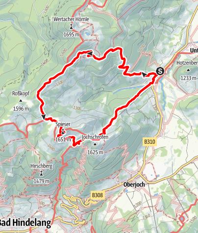 Karte / Bergwanderung über das Wertacher Hörnle und den Spießer