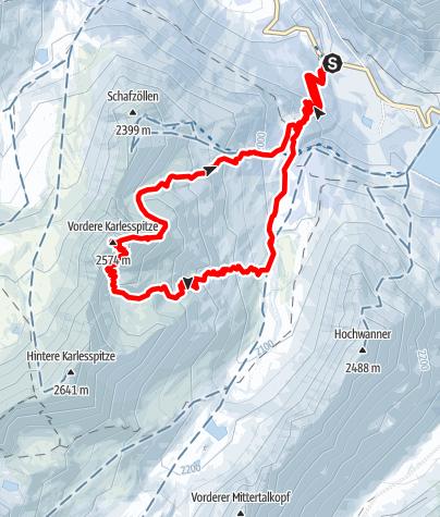 Karte / Vordere Karlesspitze (2569 m) im Kühtai