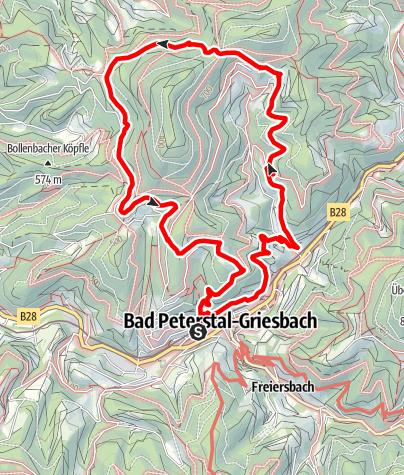 """Karte / Schwarzwälder Wandersinfonie:  Der  Schwarzwaldsteig  in Bad Peterstal-Griesbach - eine Tour  für """"Weitblicker"""""""