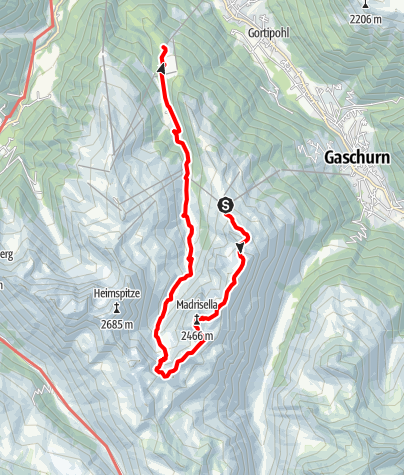 Karte / Gipfelweg Madrisella (bis Garfrescha)