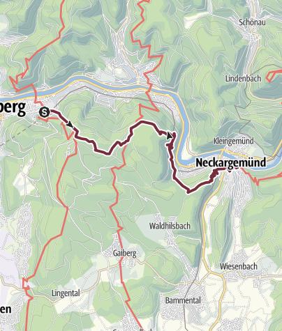 Karte / Neckarsteig: Heidelberg bis Neckargemünd