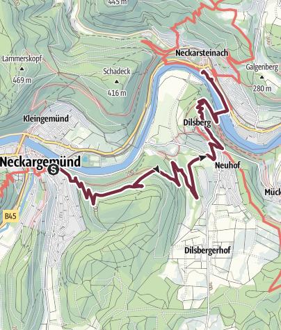 Karte / Neckarsteig: Neckargemünd bis Neckarsteinach