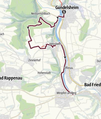Karte / Neckarsteig: Gundelsheim bis Bad Wimpfen