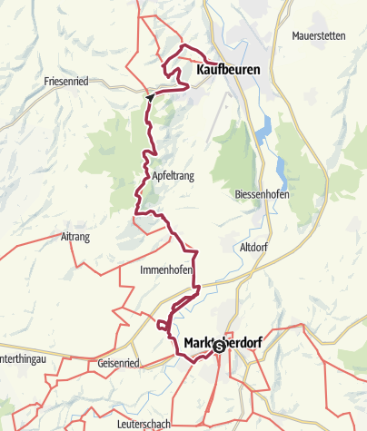Map / Wandertrilogie Etappe 01 Marktoberdorf-Kaufbeuren - Wiesengänger-Route
