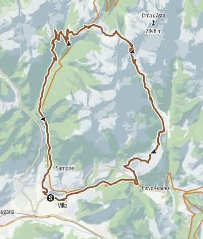 Karte / Von Scurelle über den Pass Cinque Croci