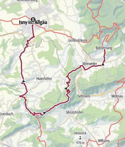Map / Wandertrilogie Etappe 16 Isny-Bolsternang - Wiesengänger-Wasserläufer Route