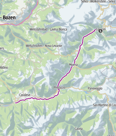 Fiemme and Fassa Dolomites cycle route • Bicycle Ride ...