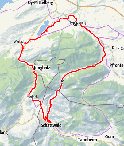 Karte / Radrunde ins benachbarte Tannheimer Tal