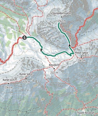 Karte / Von der Pfeishütte auf die kl. Stempeljochspitze 2529m