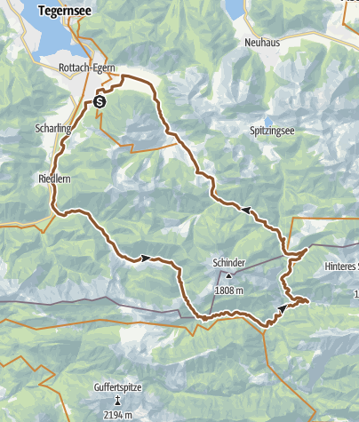 Karte / Um Wallberg, Risserkogel und Schinder mit dem Rad