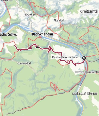 Karte / Malerweg, Etappe 6: Von Schmilka bis Kurort Gohrisch