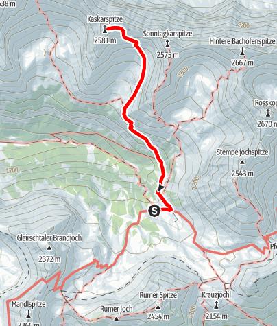 Karte / Kaskarspitze (2580m) von der Pfeishütte