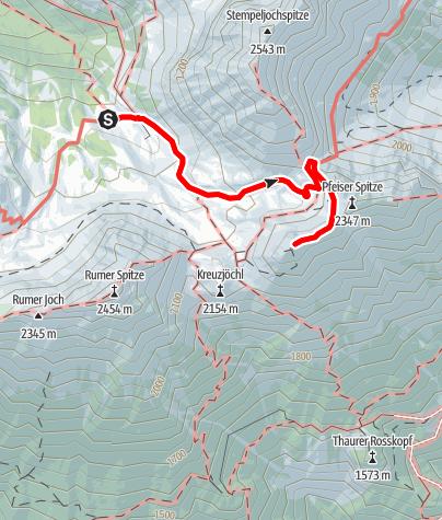 Karte / Thaurer Joch Spitze 2306 m von der Pfeishütte