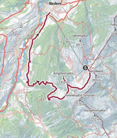 Map / Kanzelwand - Kuhgehrenspitze - Brandalpe - Riezlern