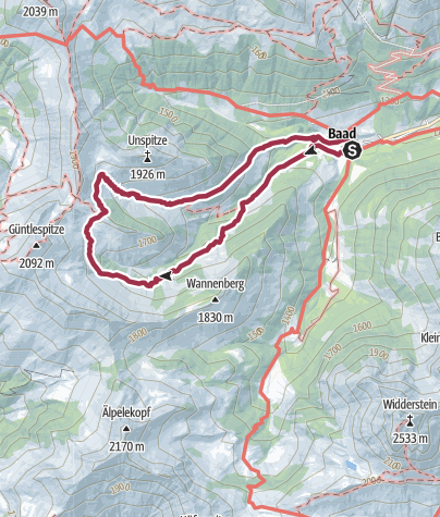 Karte / Alpwanderung ins Derratal