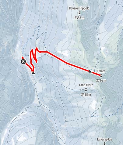 Karte / Skitour vom Gasthof Hanneburger auf den 2.725m hohen Hirzer
