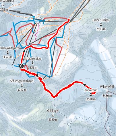 Karte / Zuckerhütl (3507 m), vom Stubaier Gletscher