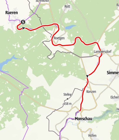 Karte / Vennbahn-Etappe 2 - Raeren - Monschau