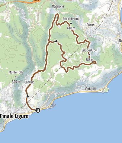 Karte / Historische MTB-Tour über den Bric dei Crovi
