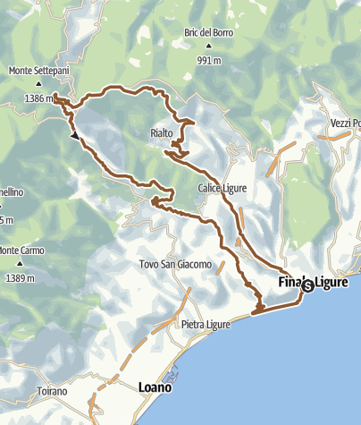Karte / MTB-Tour zum Monte Settepani