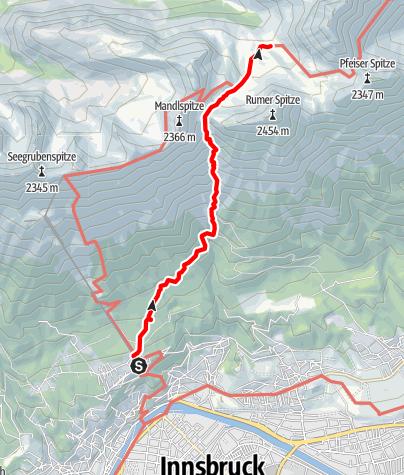 Karte / Zustieg über die Arzler-Reise zur Pfeishütte