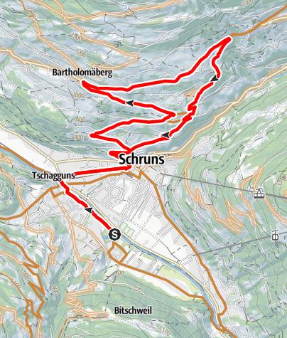 Karte / Fernblick Tour Bartholomäberg