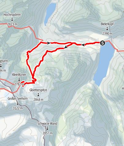 Karte / Von der Silvretta-Bielerhöhe zur Saarbrücker Hütte (2.538 m) und wieder retour