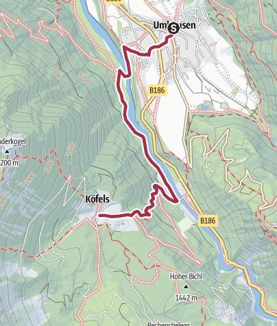 Map / Hike Köfels - Umhausen-Niederthai