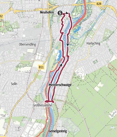 Karte / Isarrundweg in München. Vom Alten Jüdischen Friedhof bis zur Großhesseloher Brücke und zurück