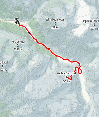 Karte / Vorderer Sulzkogel 2796m  - Längenfeld/Gries