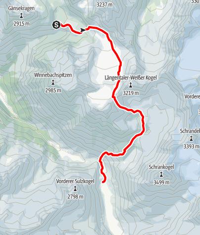 Karte / Ötztal Trek Etappe 04: Winnebachseehütte zur Amberger Hütte