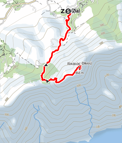 Karte / Dikeos von Zia auf den höchsten Berg der Insel Kos