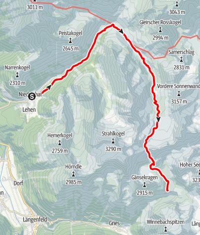 Karte / Schweinfurter Hütte - Winnebachseehütte