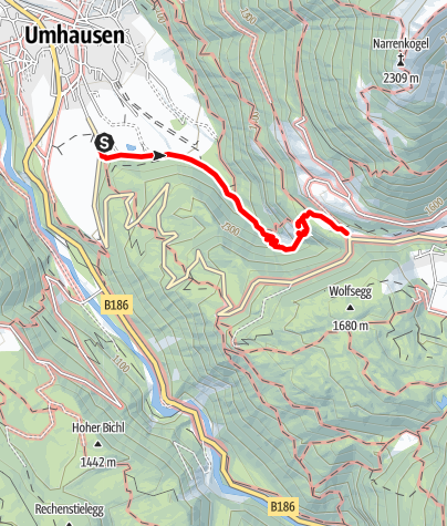 Map / Stuibenfall hike - Umhausen-Niederthai