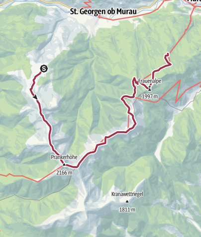 Karte / 8-Gipfel Wanderung: vom Kreischberg zur Frauenalpe (2.171m)