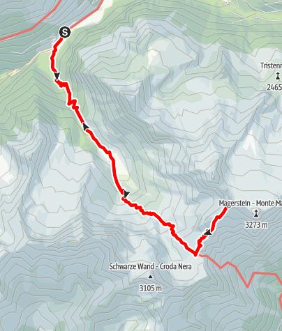 Karte / Durchs Gelltal auf's Fernerköpfl (3248) in der Rieserfernergruppe