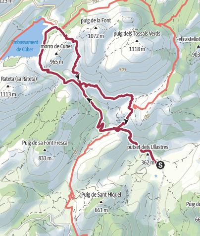 Mapa / Desde el Refugi Tossals Verds por el Torrent d'Almadrà