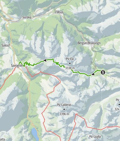 Karte / Trans Parc Ela - 3 Pässewanderung
